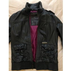 Leather Bomber Jacket, XS